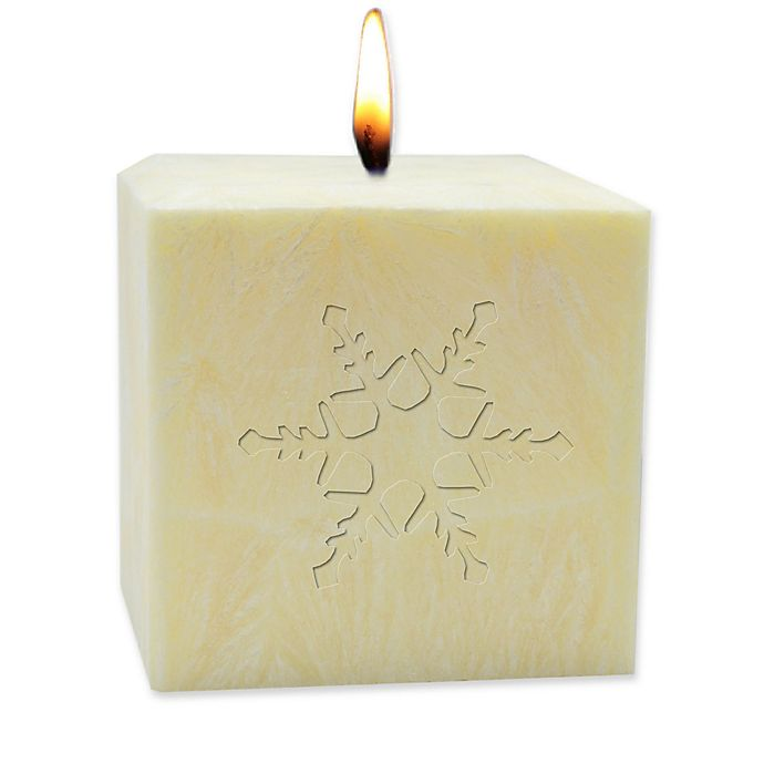 Alternate image 1 for Carved Solutions Eco-Luxury Snowflake Pure Aromatherapy Pillar Candle