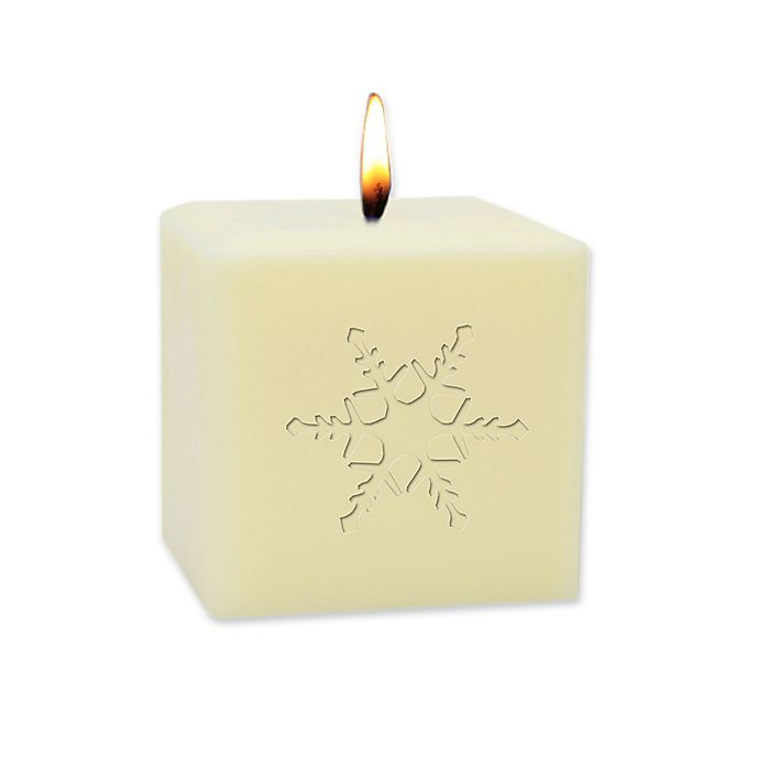 Alternate image 1 for Carved Solutions Eco-Luxury Snowflake Soy Pillar Candle