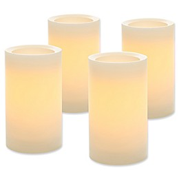 LED Flameless Wax Pillar Candles with Timer in Cream (Set of 4)