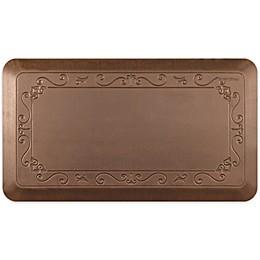 Smart Step Home Rustic Fleur de Lys Therapeutic Kitchen Mat in Rustic Brown