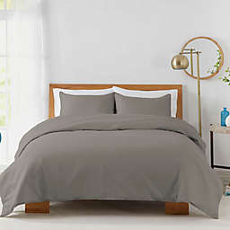 Solid 450-Thread-Count Cotton Sateen 3-Piece Full/Queen Duvet Cover Set in Grey