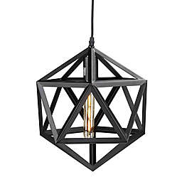 Southern Enterprises Levaca Geometric Cage Pendant in Matte Black