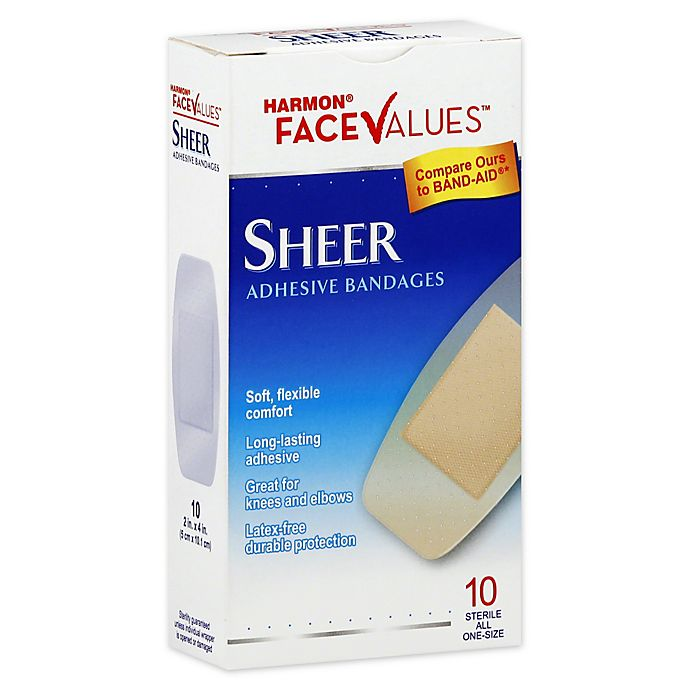 Alternate image 1 for Harmon® Face Values™ 10-Count Sheer XL Strip Adhesive Bandages