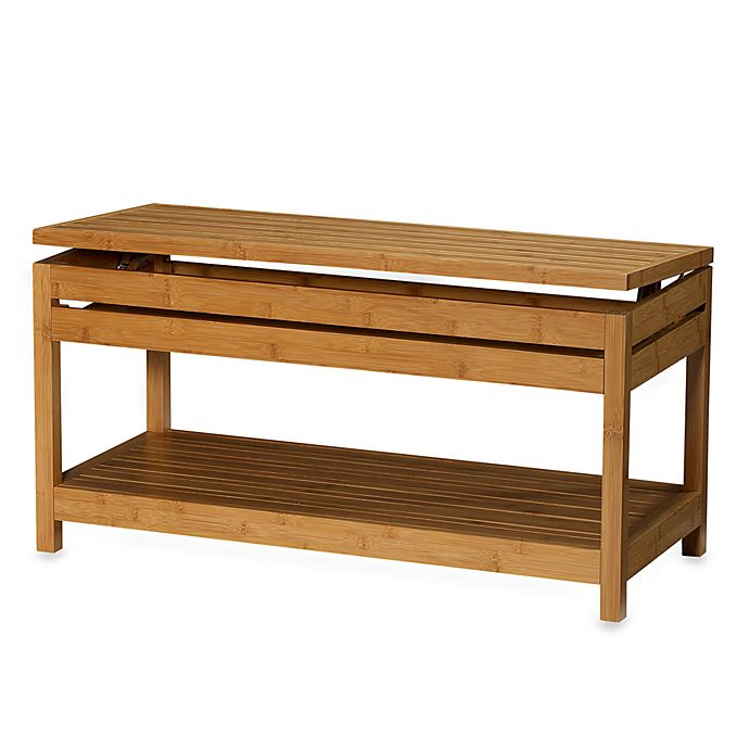 Fine Bamboo Storage Bench Bed Bath Beyond Machost Co Dining Chair Design Ideas Machostcouk