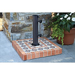 Outdoor Interiors 17-Inch Square Umbrella Base in Terracotta