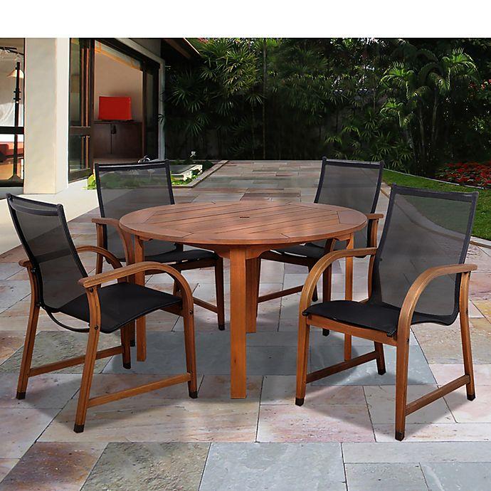 Alternate image 1 for Amazonia Bahamas 5-Piece Round Eucalyptus Outdoor Patio Dining Set with Sling Chairs