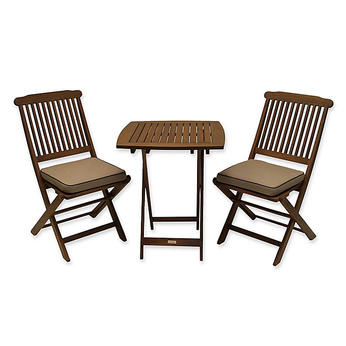 Alternate image 1 for Outdoor Interiors Eucalyptus Wood 3-Piece Round Bistro Set with Tan Cushions