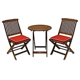 Outdoor Interiors® Eucalyptus Wood 3-Piece Bistro Set with Cushions in Red