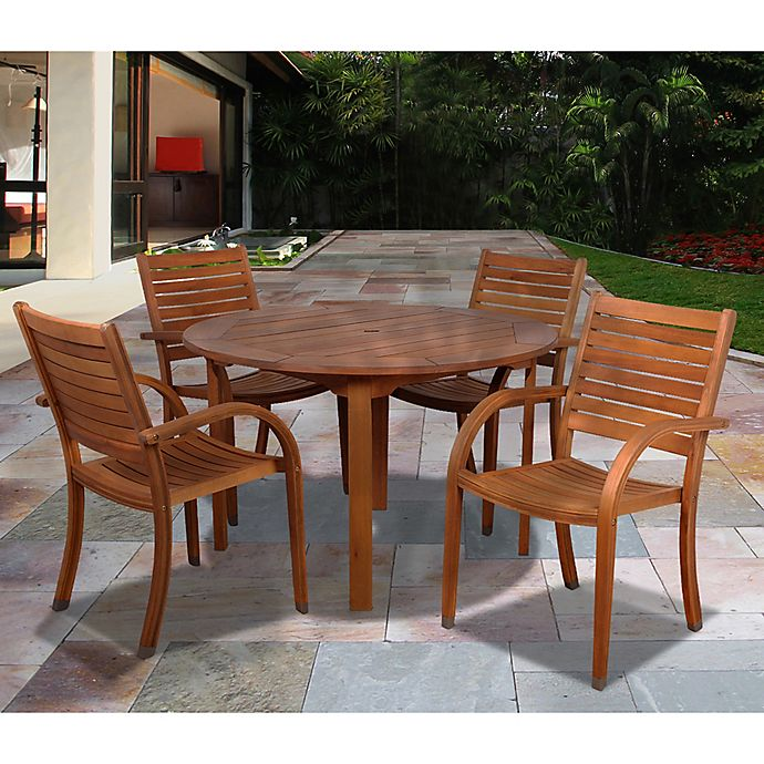 Amazonia Arizona 5 Piece Round Eucalyptus Wood Outdoor Patio Dining Set Bed Bath Beyond