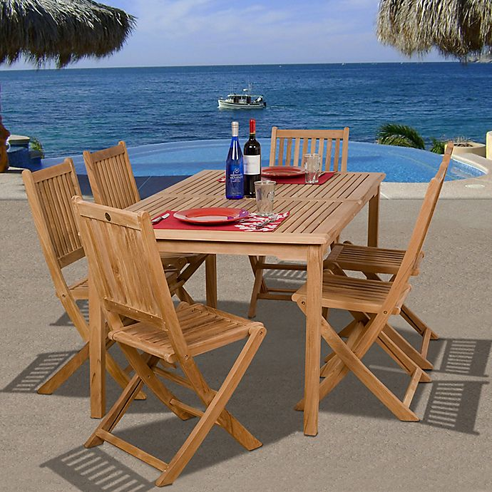 Alternate image 1 for Amazonia Prague 7-Piece Teak Wood Outdoor Patio Dining Set