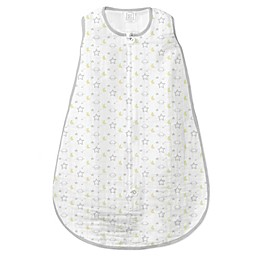 SwaddleDesigns® Goodnight Muslin zzZipMe® Sack in Sterling/White