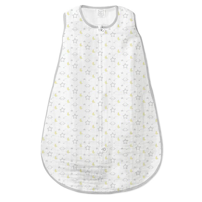 Alternate image 1 for SwaddleDesigns® Size 6-12M Goodnight Muslin zzZipMe® Sack in Sterling/White