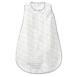 SwaddleDesigns® Size 6-12M Goodnight Muslin zzZipMe® Sack in Sterling/White