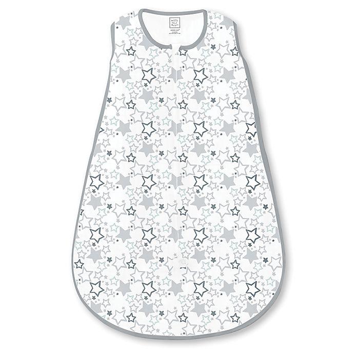 Alternate image 1 for SwaddleDesigns® Starshine Shimmer Cotton Knit zzZipMe® Sack in Sterling