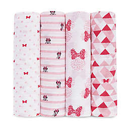 aden + anais™ essentials 4-Pack Disney Minnie Muslin Swaddle Blankets in Red/White