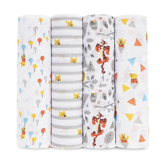 Alternate image 1 for aden + anais™ essentials 4-Pack Tigger/Winnie Muslin Swaddle Blankets