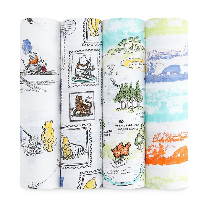 Alternate image 1 for aden® Disney by aden + anais® 4-Pack Winnie the Pooh Muslin Swaddle Blankets