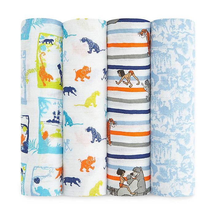 Alternate image 1 for aden + anais® 4-Pack Jungle Book Muslin Swaddle Blankets