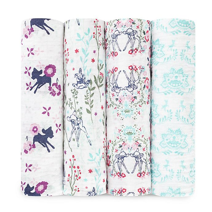 Alternate image 1 for aden® Disney by aden + anais® 4-Pack Bambi Muslin Swaddle Blankets