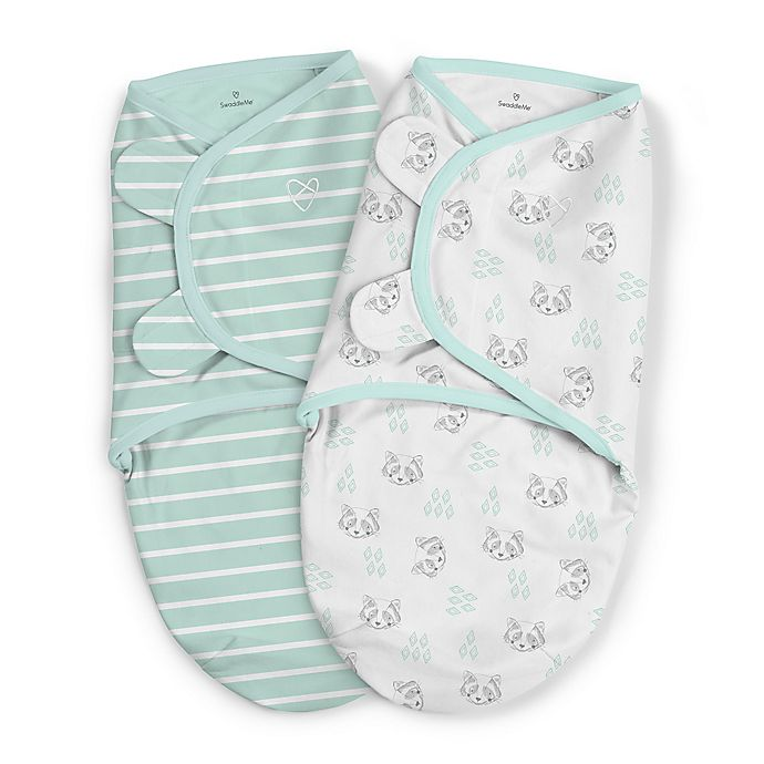Alternate image 1 for SwaddleMe® 2-Pack Large Organic Cotton Little Rascal Original Swaddles in Mint