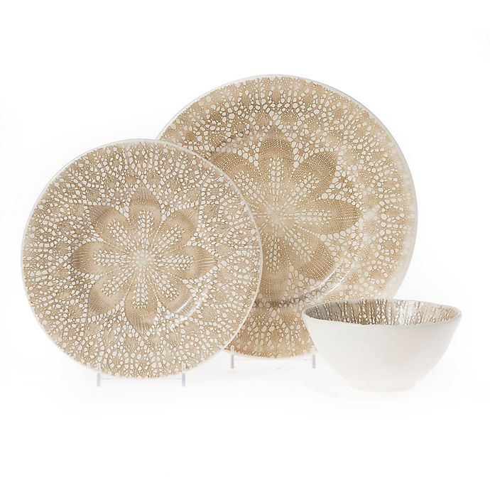 Alternate image 1 for viva by VIETRI Lace 3-Piece Place Setting in Natural