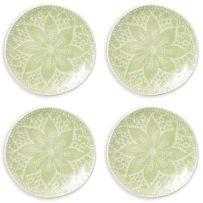Alternate image 1 for viva by VIETRI Lace Cocktail Plates in Pistachio (Set of 4)