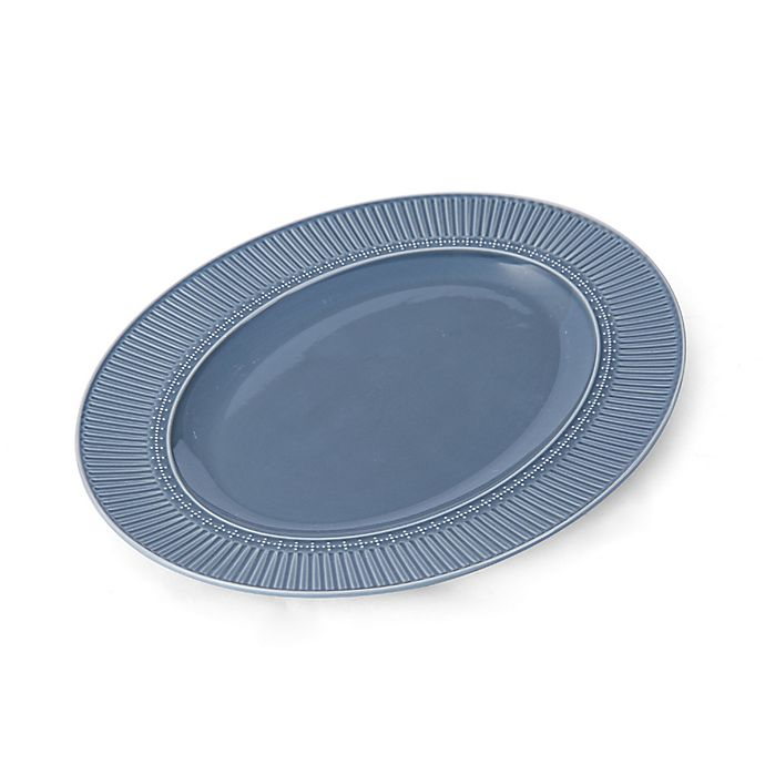 Alternate image 1 for Mikasa® Italian Countryside Accents Fluted 15-Inch Oval Platter in Blue