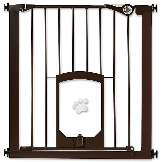 Mypet Passage 30 Inch Pet Gate With Small Pet Door In Matte Bronze Bed Bath Beyond