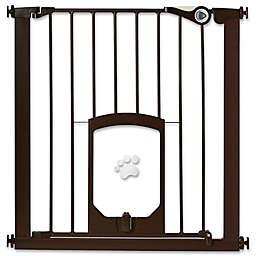 MyPet Passage 30-Inch Gate with Small Pet Door in Matte Bronze