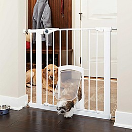MyPet Passage 30-Inch Gate with Small Pet Door in White