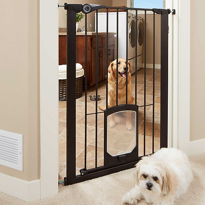 Alternate image 1 for MyPet Passage 42-Inch Extra Tall Pet Gate with Small Pet Door in Matte Bronze