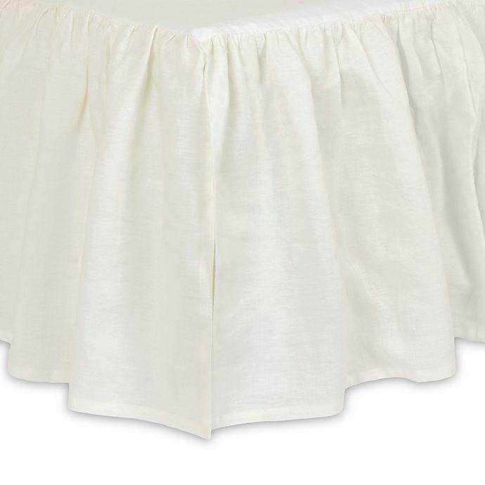 Alternate image 1 for Just Born® Keepsake Washed Linen Crib Skirt in Ivory