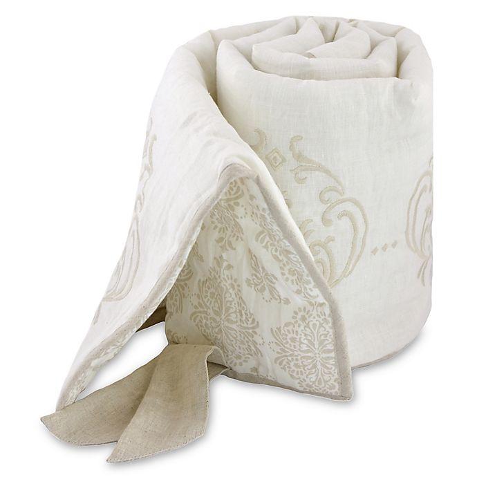 Alternate image 1 for Just Born® Keepsake Washed Linen Medallion Crib Rail Guard in Ivory