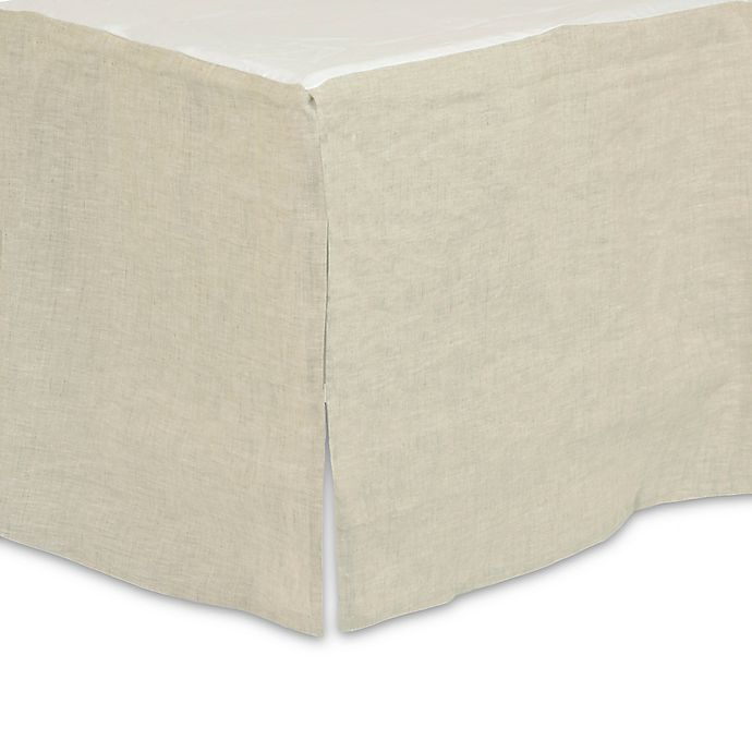 Alternate image 1 for Just Born® Keepsake Washed Linen Crib Skirt in Flax