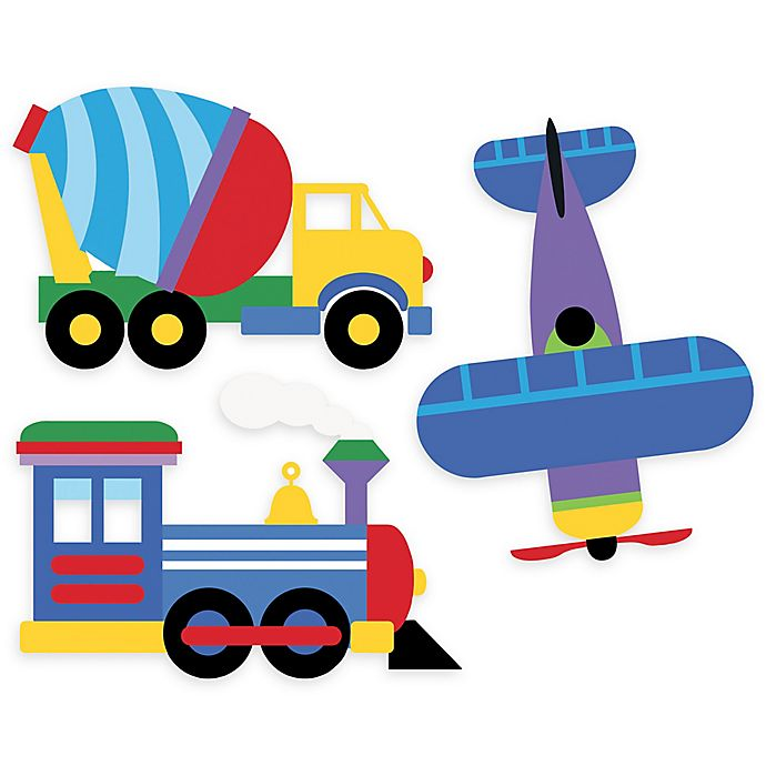 Alternate image 1 for Wallies Olive Kids Trains, Planes, Trucks Peel & Stick Wall Decals