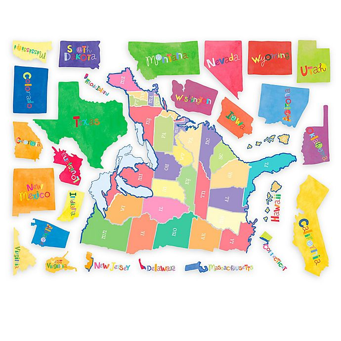 Alternate image 1 for Wallies U.S. State Map Peel & Stick Wall Decal