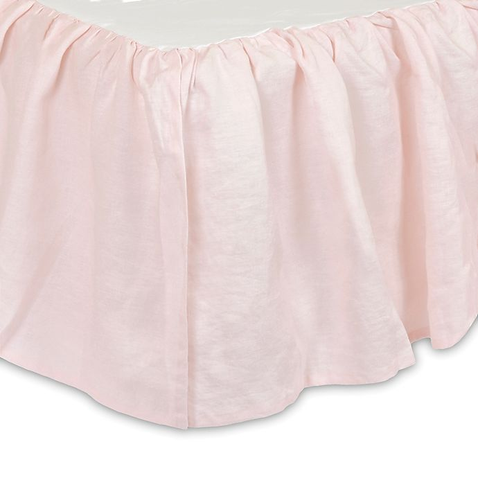 Alternate image 1 for Just Born® Keepsake Washed Linen Crib Skirt in Pink
