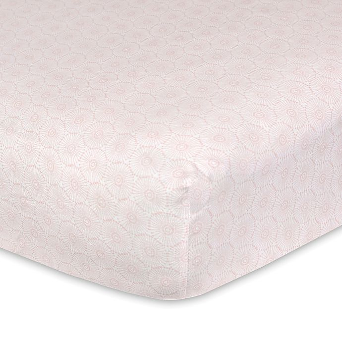 Alternate image 1 for Just Born® Keepsake Floral Printed Fitted Crib Sheet in Pink