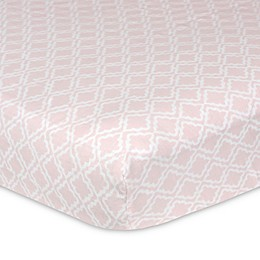 Just Born® Keepsake Washed Linen Trellis Printed Crib Sheet in Pink