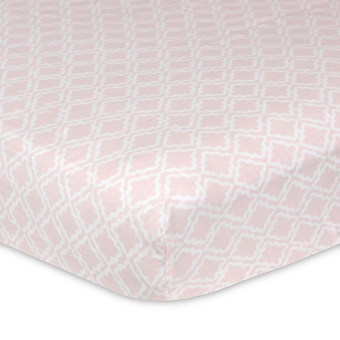 Alternate image 1 for Just Born® Keepsake Washed Linen Trellis Printed Crib Sheet in Pink