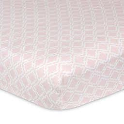 Just Born® Keepsake Washed Linen Trellis Printed Crib Sheet in Pink