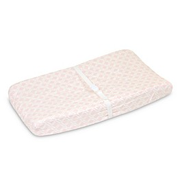 Just Born® Keepsake Washed Linen Trellis Printed Changing Pad Cover in Pink