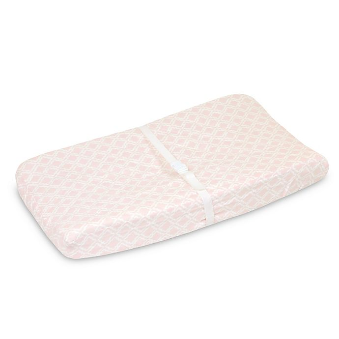 Alternate image 1 for Just Born® Keepsake Trellis Printed Changing Pad Cover in Pink