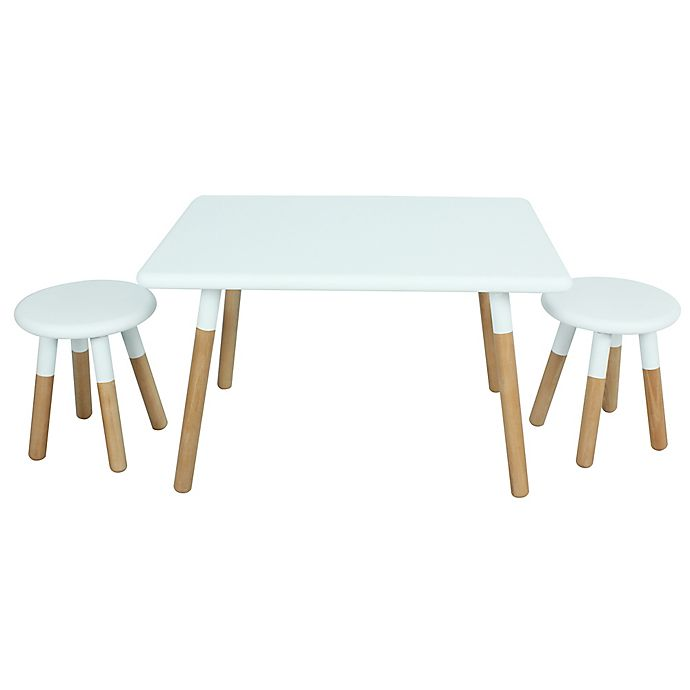 Alternate image 1 for Kids 3-Piece Dipped Table and Stool Set in White