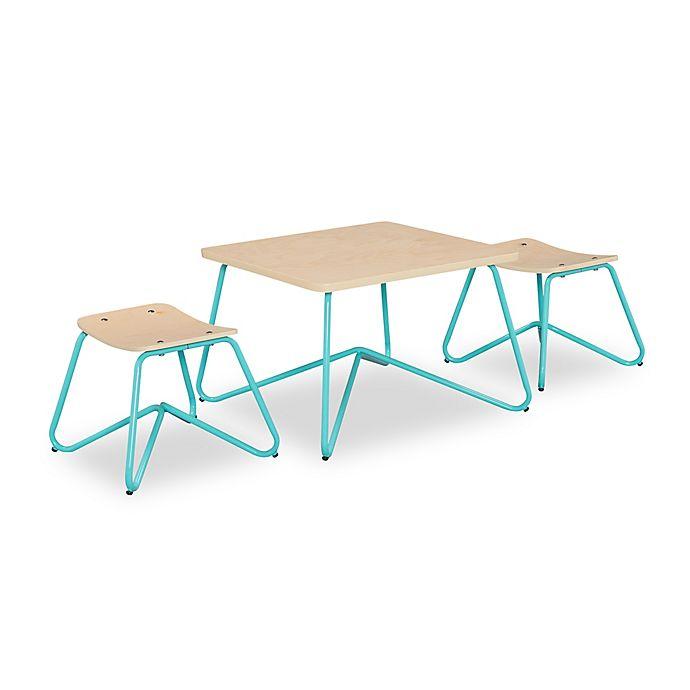 Alternate image 1 for Kellan Kids Table with Stools in Aqua (Set of 3)