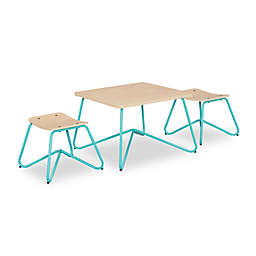 Kellan Kids Table with Stools in Aqua (Set of 3)