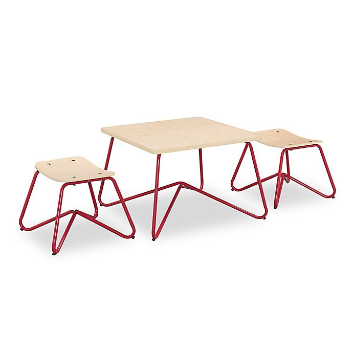 Alternate image 1 for Kellan Kids Table with Stools in Red (Set of 3)