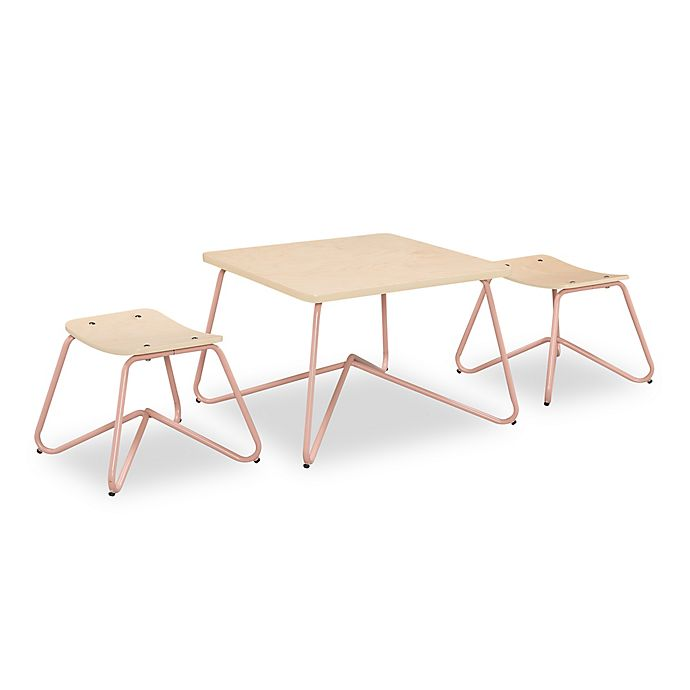 Kellan Kids Table With Stools In Dusty Pink Set Of 3 Bed