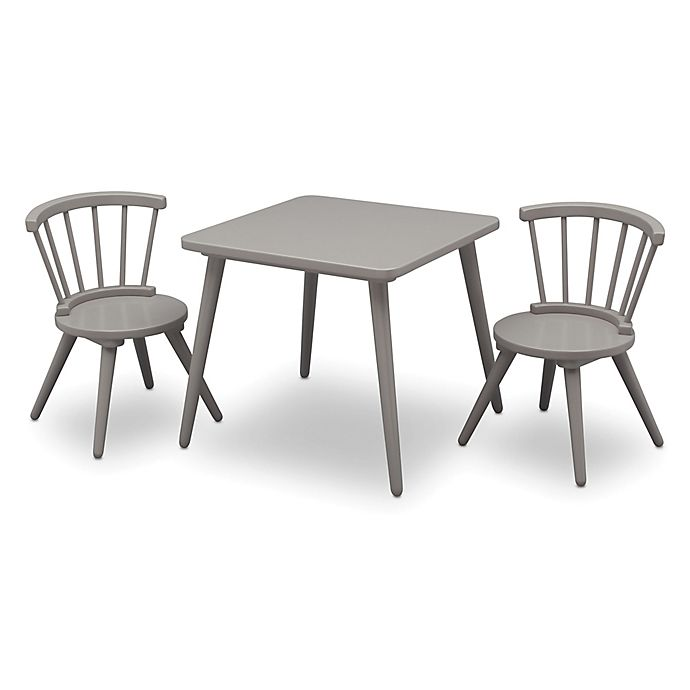 Alternate image 1 for Delta Children Windsor 3-Piece Table and Chair Set in Grey