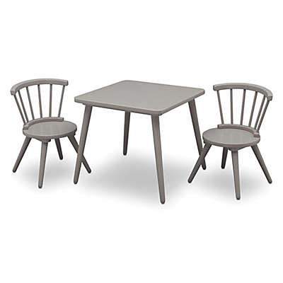 Delta Children Windsor 3-Piece Table and Chair Set in Grey